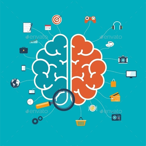 Brain with Icons - Concepts Business