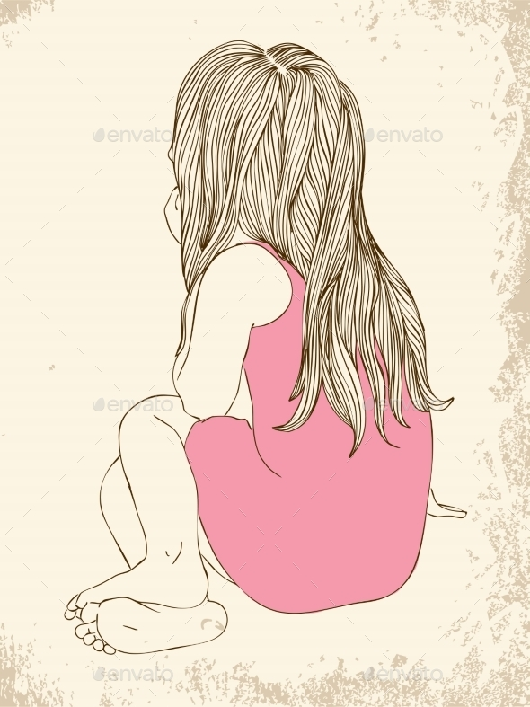 Little Girl in a Pink Dress Sitting - People Characters