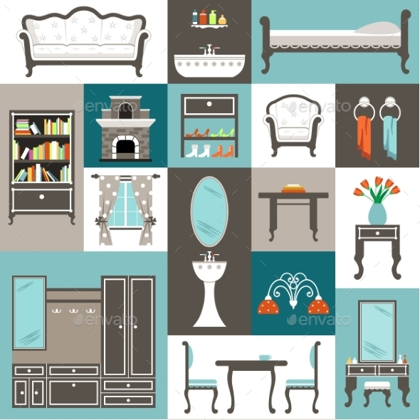 Furniture Set - Objects Vectors