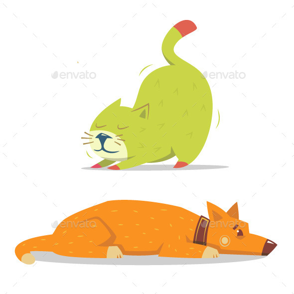 Scratching Cat and Laying Dog - Animals Characters