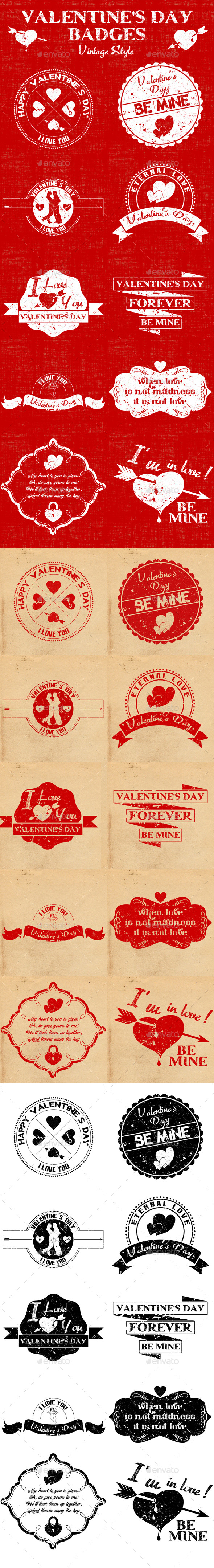 Valentine's Day Badges - Vintage Style - Badges & Stickers Web Elements