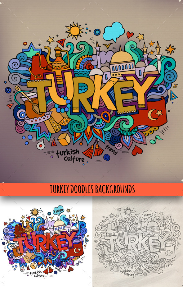 3 Turkey Doodles - Travel Conceptual