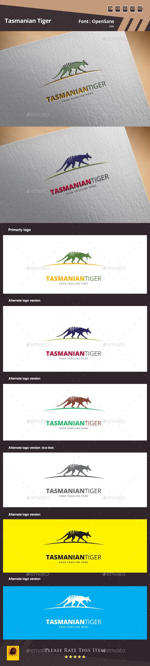 Tasmanian Tiger Logo Template - Animals Logo Templates
