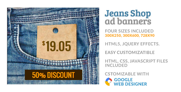 Jeans Cloth Shop GWD HTML5 Ad Banner - CodeCanyon Item for Sale