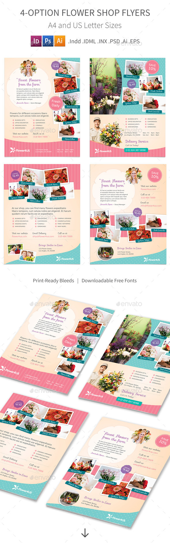 Flower Shop Flyers – 4 Options - Corporate Flyers