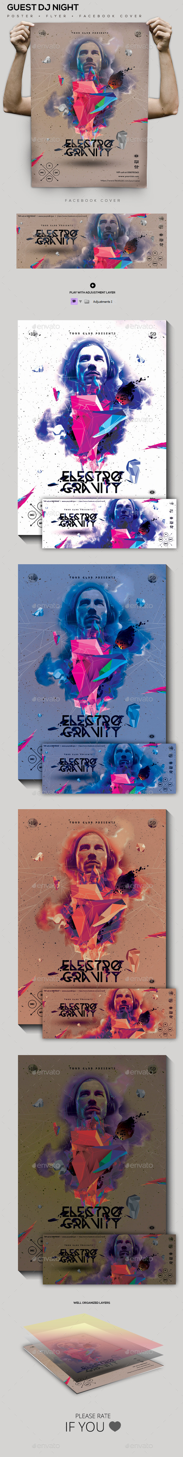 Electro Gravity Guest Dj Party Flyer/Poster - Clubs & Parties Events