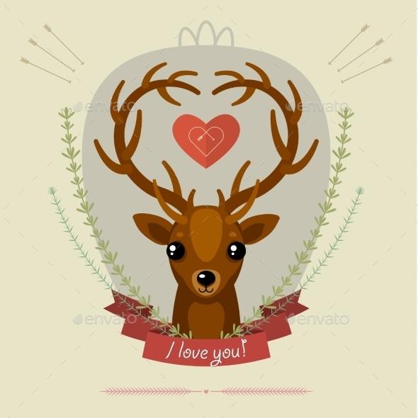 Greeting Card with Deer - Valentines Seasons/Holidays