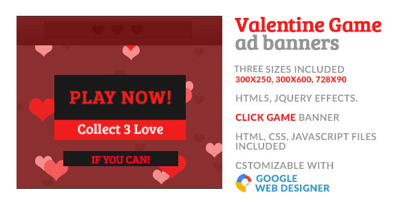 Valentine Love Game GWD HTML5 Ad Banner - CodeCanyon Item for Sale
