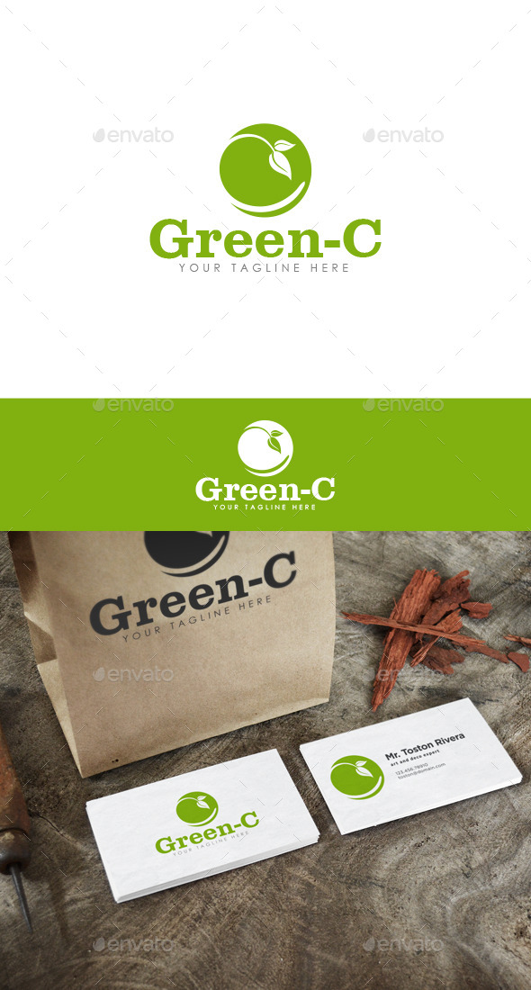 Green-C Logo - Nature Logo Templates