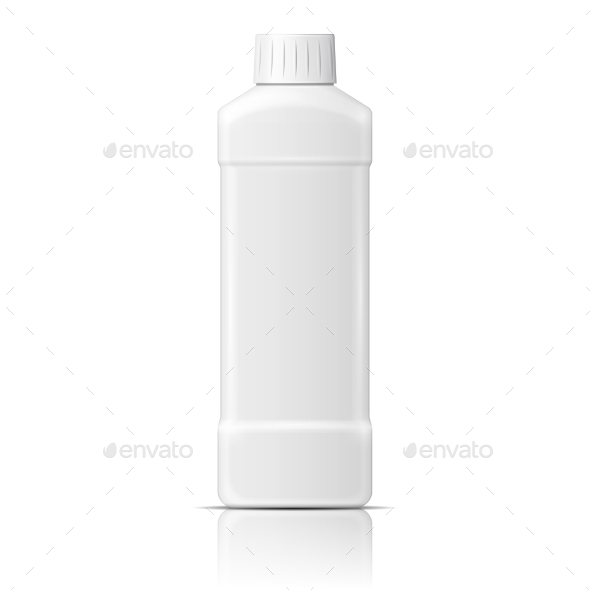 White Plastic Bottle for Dishwashing Liquid - Man-made Objects Objects