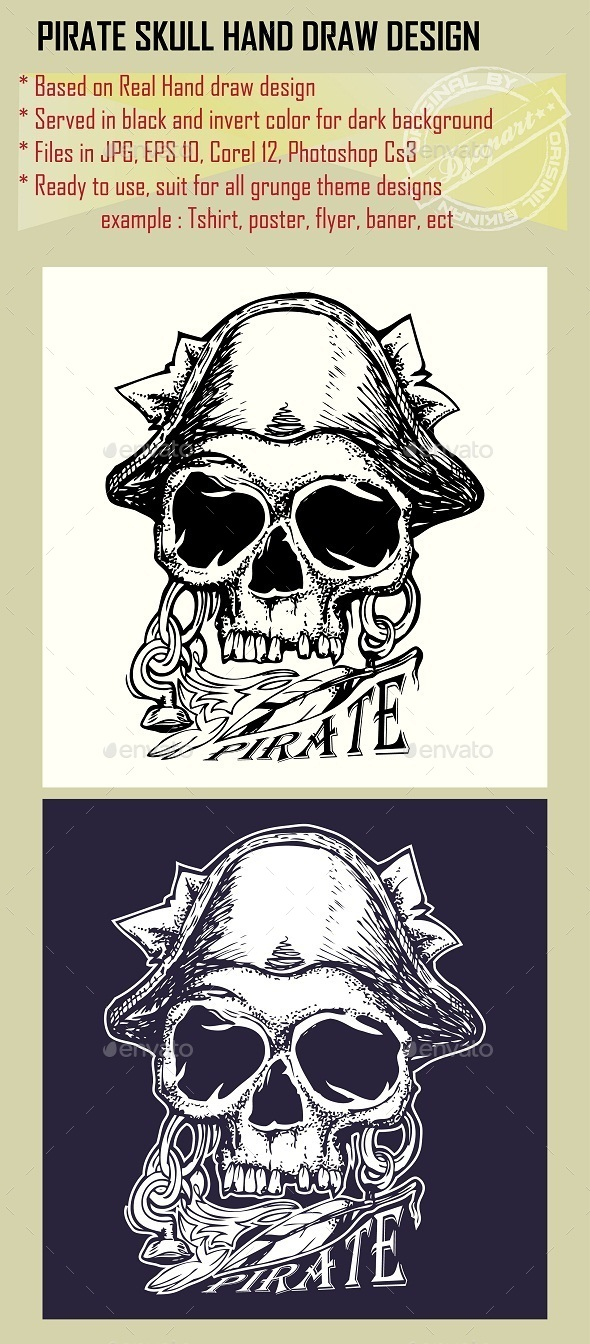 Pirate Skull Hand Drawn in Grunge Style - Miscellaneous Characters