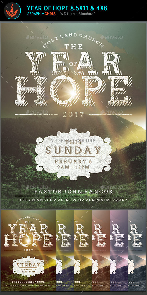 Year of Hope Rustic Church Flyer Template - Church Flyers