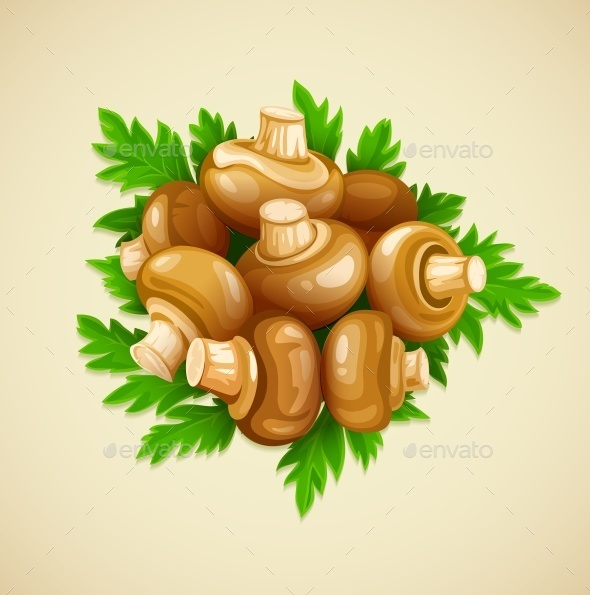 Organic Mushrooms with Parsley - Food Objects