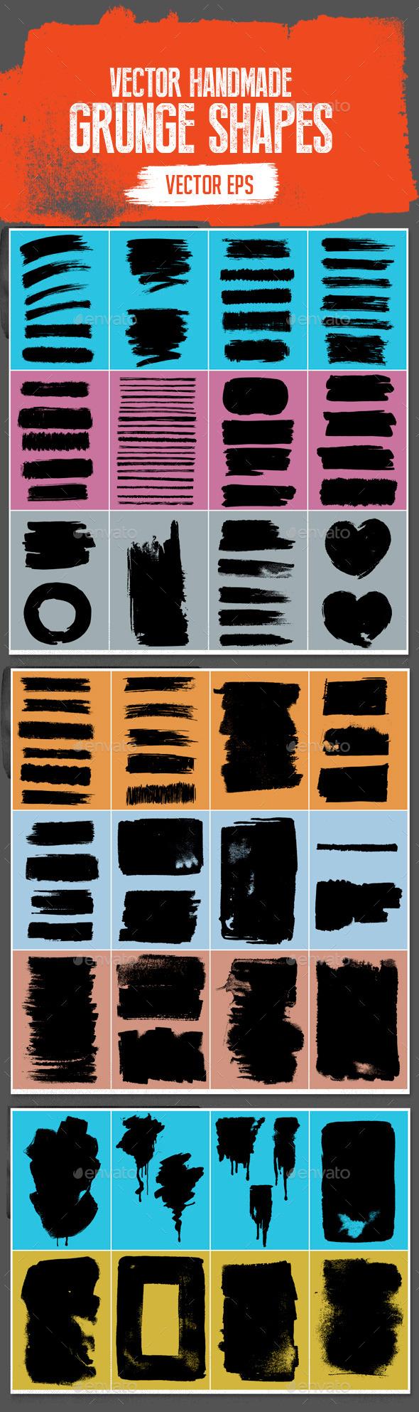 Handmade Vector Grunge Stroke/Shapes Set - Miscellaneous Vectors