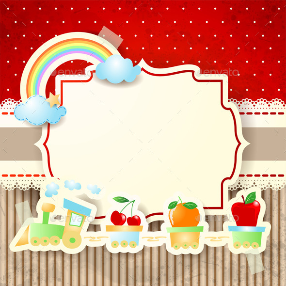 Train and Rainbow Over Cardboard Background - Backgrounds Decorative
