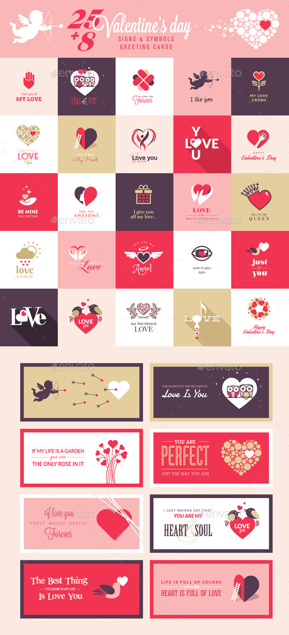 Set of Love Icons and Greeting Cards - Seasons/Holidays Conceptual
