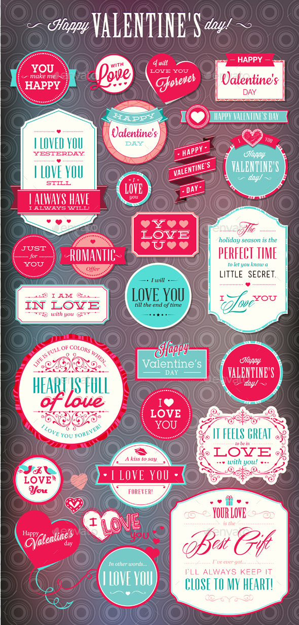 Set of Love Badges and Labels - Seasons/Holidays Conceptual