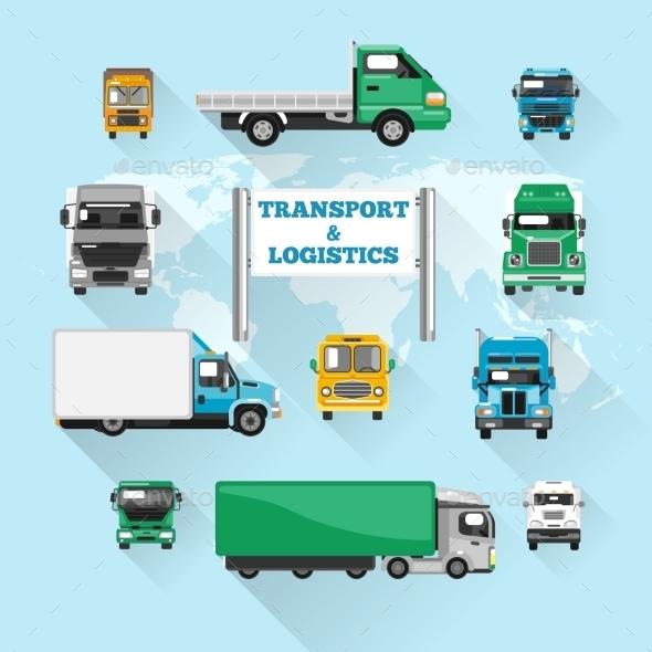 Truck Icons Flat - Miscellaneous Vectors