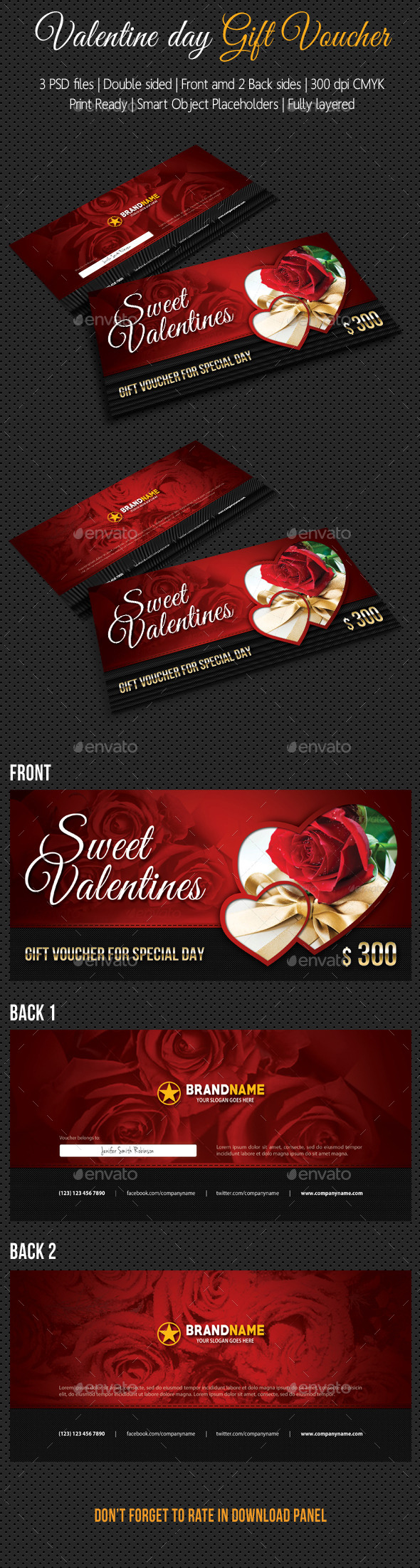 Valentines Gift Voucher - Cards & Invites Print Templates