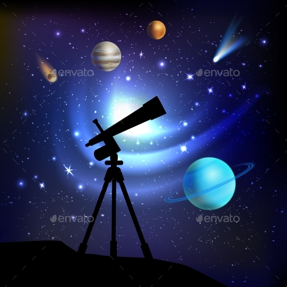 Space Background With Telescope - Backgrounds Decorative