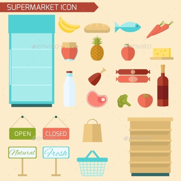Supermarket Icon Flat - Food Objects
