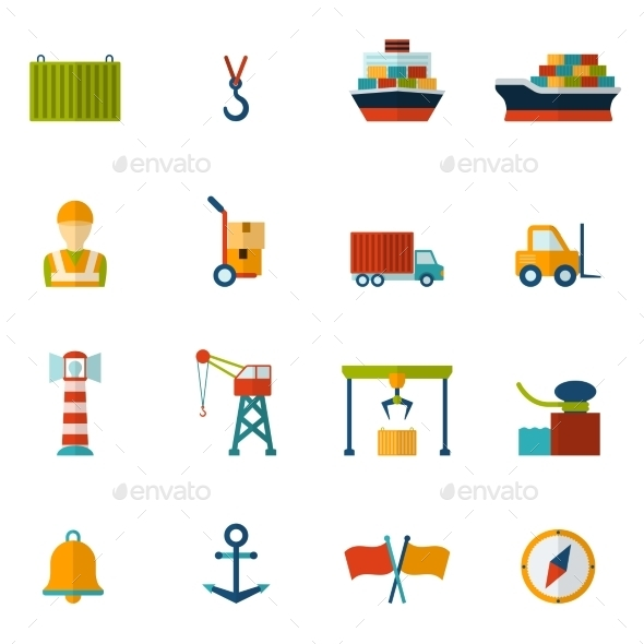 Seaport Flat Icon - Web Icons