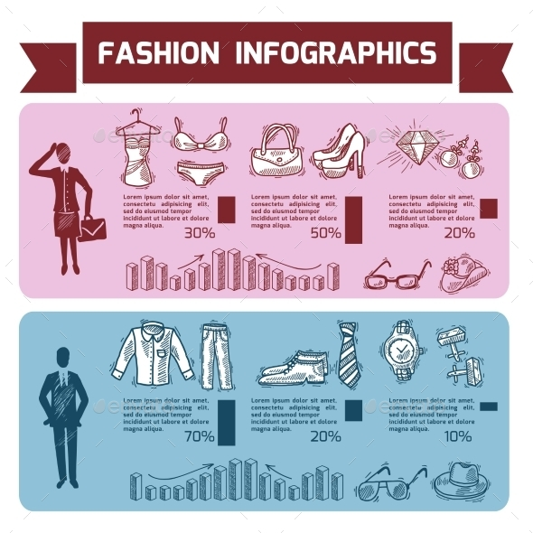 Fashion Infographics Set - Miscellaneous Vectors