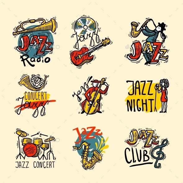 Jazz Labels Set - Decorative Vectors