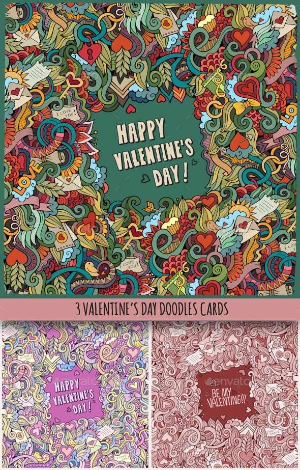 3 Love Doodles Frames - Valentines Seasons/Holidays