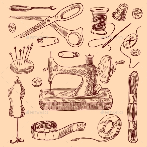 Sewing Icons Sketch Set - Objects Vectors
