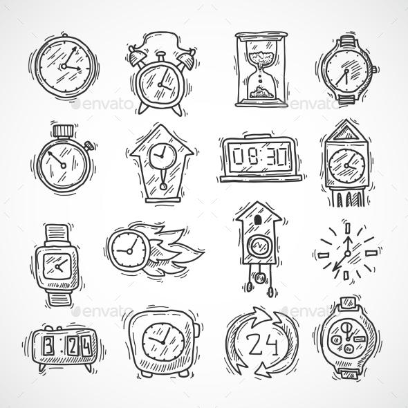Clock Icons Set - Objects Vectors