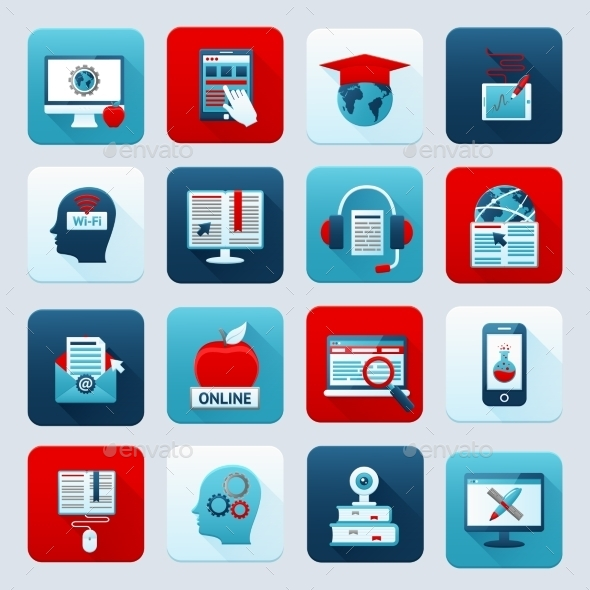 Online Education Icons - Technology Conceptual