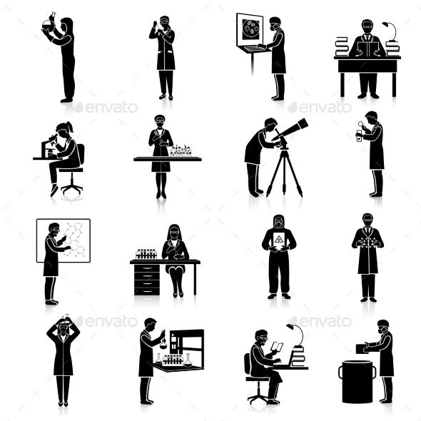 Scientists Black Set - People Characters