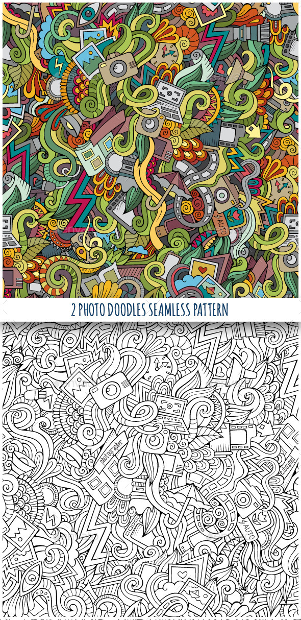 2 Photography Doodles Seamless Pattern - Technology Conceptual