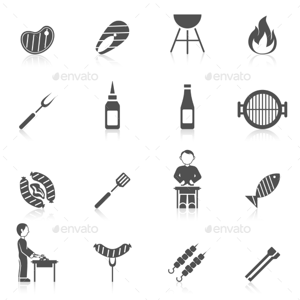 Bbq Grill Icon Black - Food Objects