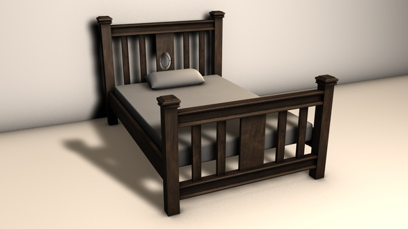 Wooden Bed - 3DOcean Item for Sale