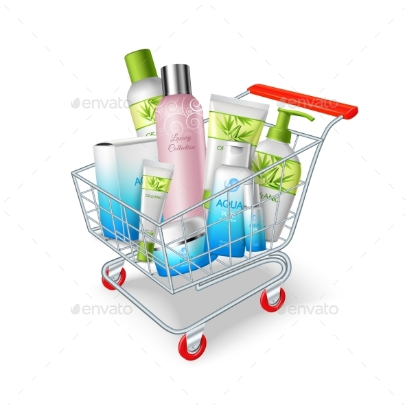 Cosmetics Shopping Cart - Decorative Vectors