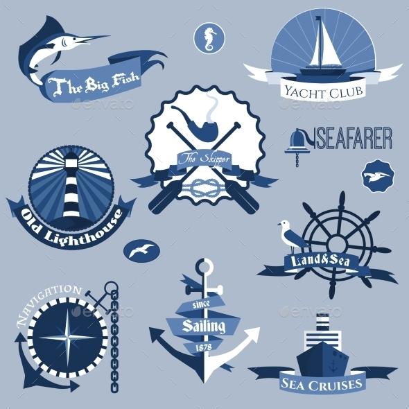 Sea Labels Set - Travel Conceptual