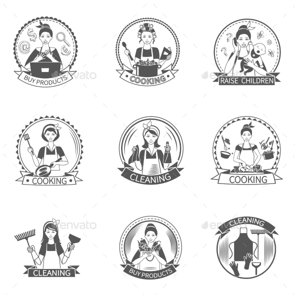 Housewife Label Set - People Characters