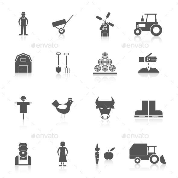Farm Icon Set - Food Objects