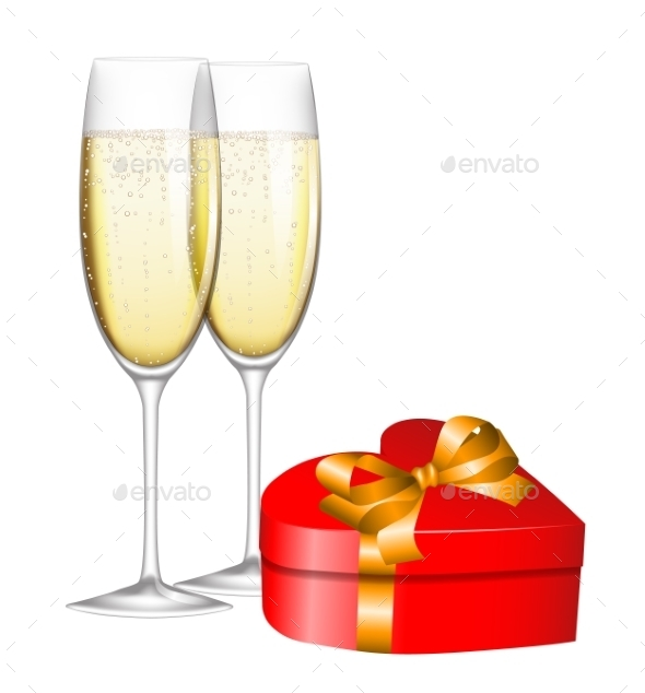 Champagne and Gift - Valentines Seasons/Holidays