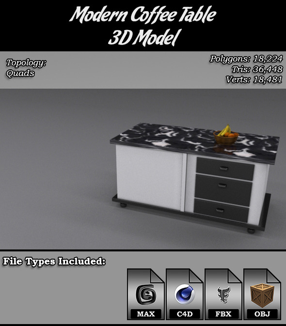 Modern Coffee Table 3D Model - 3DOcean Item for Sale