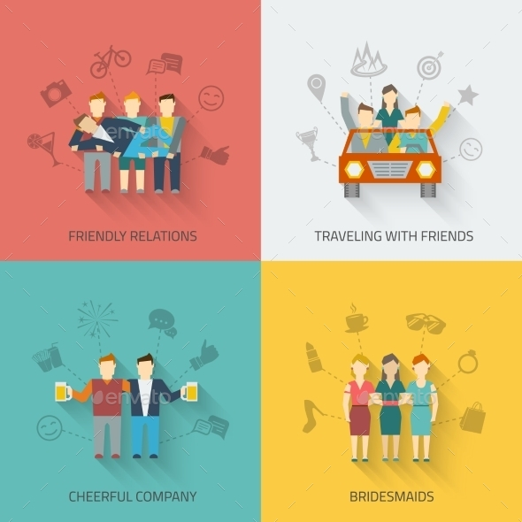 Friends Icons Flat Set - People Characters
