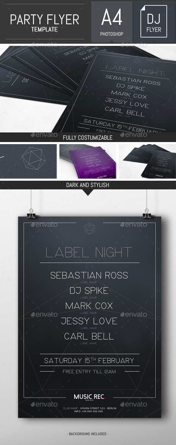Dark Minimal Dj Party Flyer / Poster Template - Clubs & Parties Events