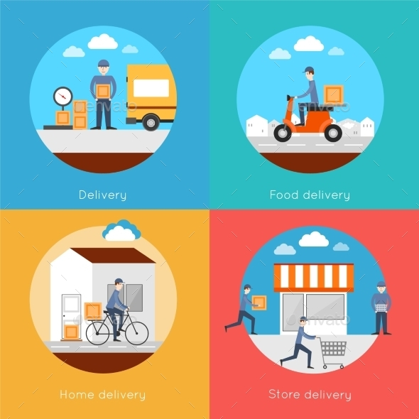 Delivery Icons Flat Set - Web Technology