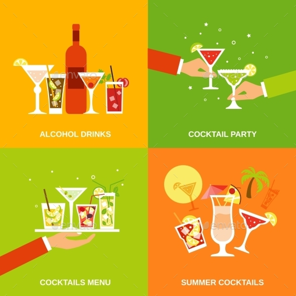 Alcohol Cocktails Icons Flat - Food Objects