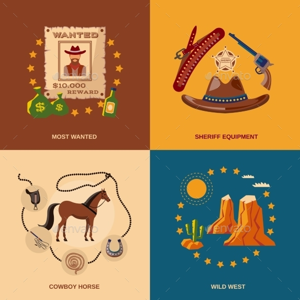 Cowboy Icons Flat - Miscellaneous Vectors