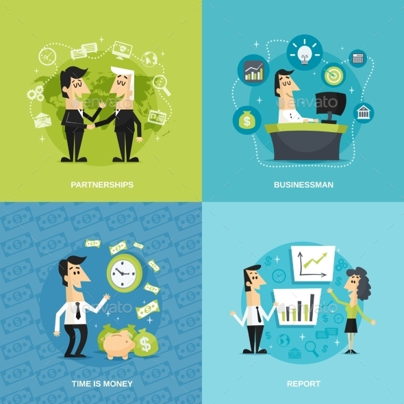 Office Workers Flat - Business Conceptual