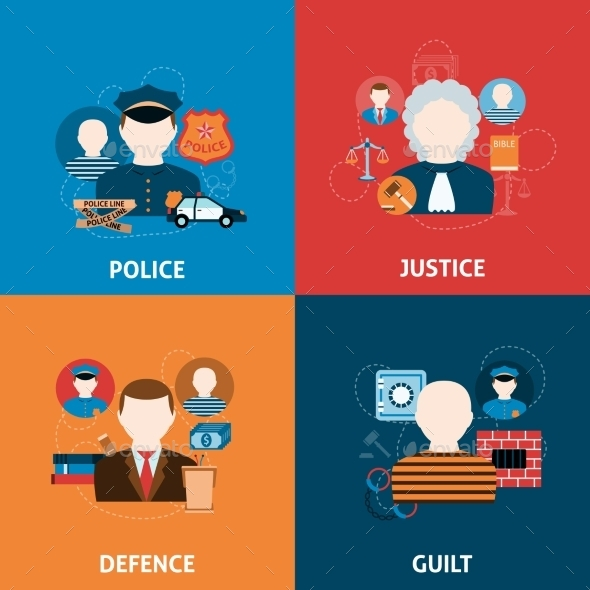 Crime and Punishments Flat Icons Composition - Web Technology