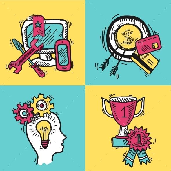 SEO Internet Marketing Colored Sketch Set - Business Conceptual